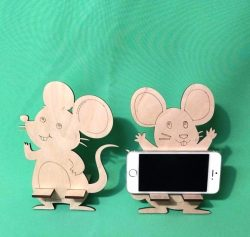 Mouse Phone Holder For Laser Cut Free DXF File