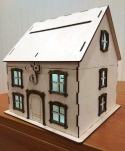 Wooden House Piggy Bank For Laser Cut Free DXF File