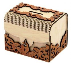 Small Bank With Lock For Laser Cut Cnc Free CDR Vectors Art