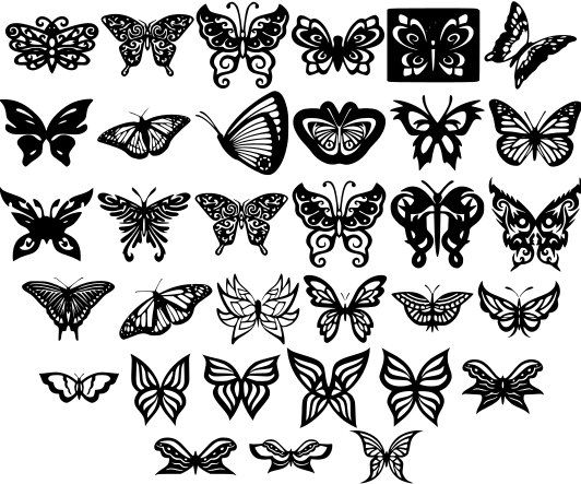 Butterfly Ornaments Decor Free DXF File