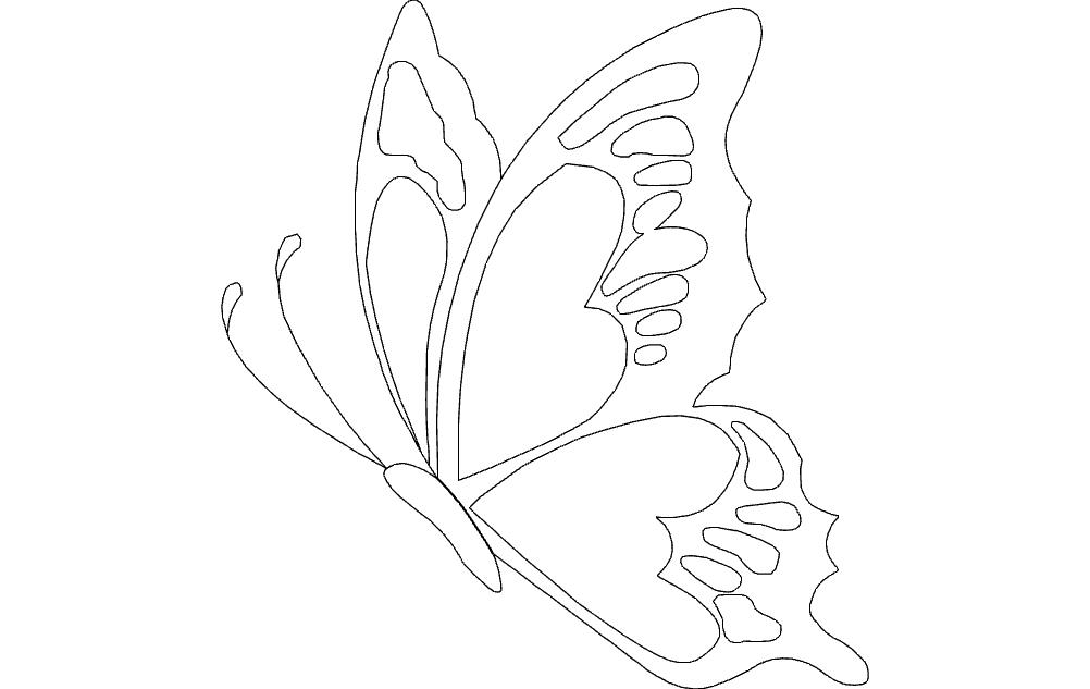 Butterfly Sketch Sticker Free DXF File