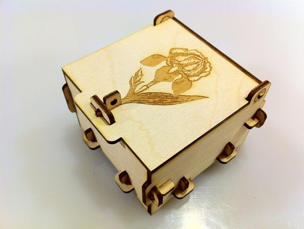 Cnc Laser Cut Pinned Engrave Wood Box Free DXF File