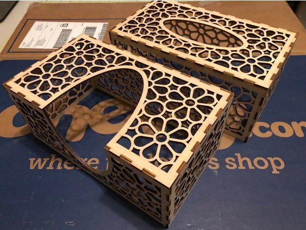 Cnc Laser Cut Plywood Tissue Box Free DXF File