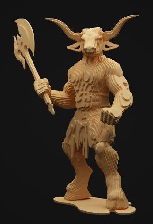 Cnc Laser Cut Projects Made Of Wood 3d Minotaur Free DXF File