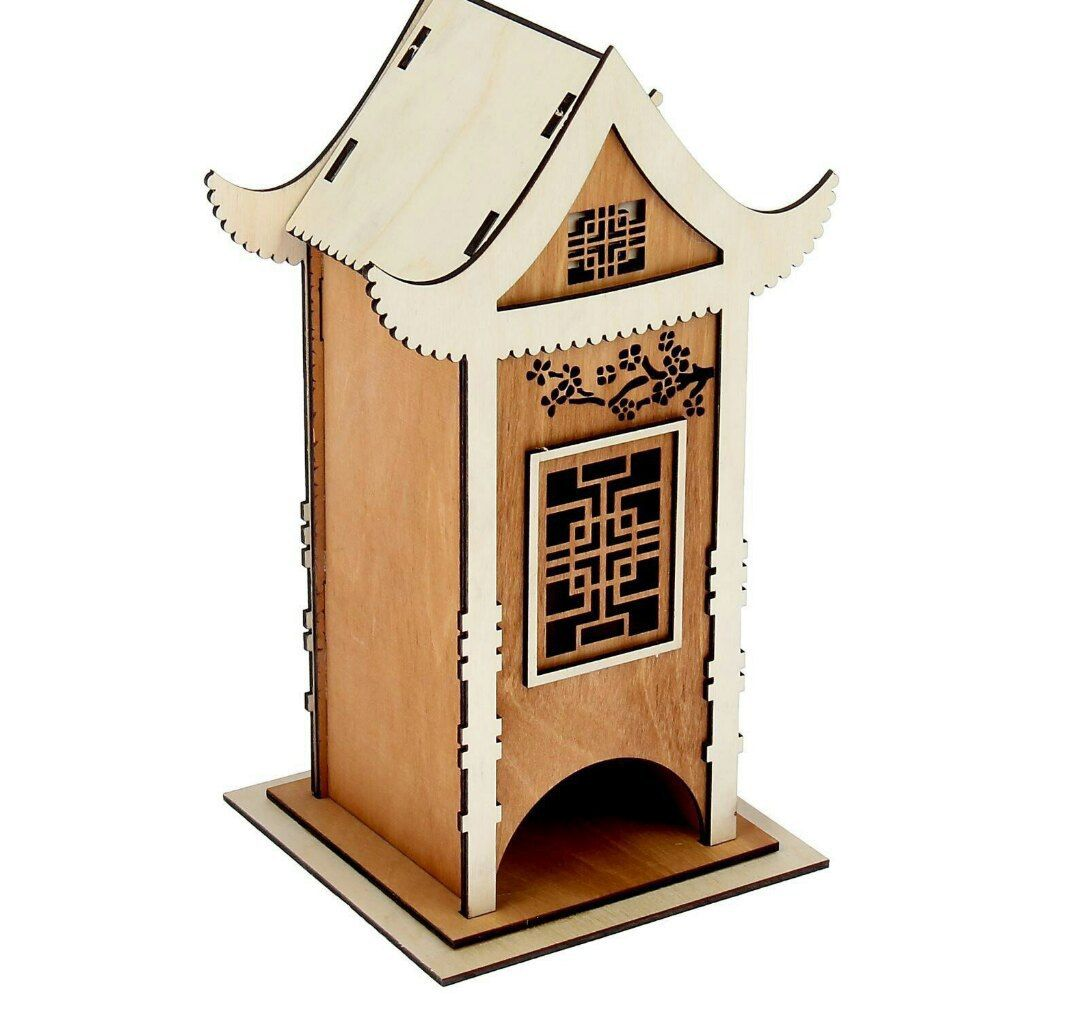 Cnc Laser Cut Wood Box House Free DXF File
