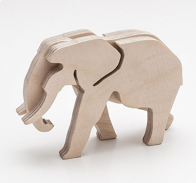 Cnc Laser Cut Wooden 3d Model Elephant Free DXF File