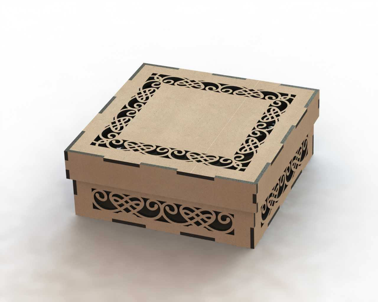 Cnc Laser Cut Wooden Gift Box Lid Template Free DXF File