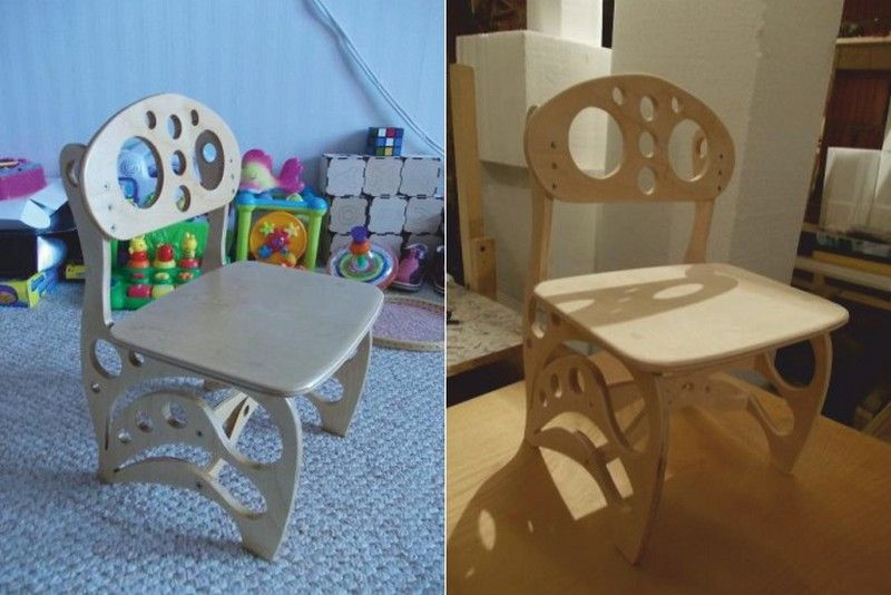Cnc Laser Cutting Wooden Baby Chair Free DXF File