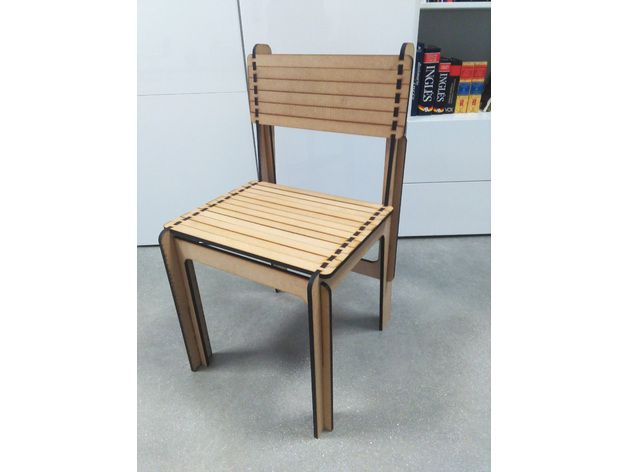 Opensource Laser Cut Wood Chair Free DXF File