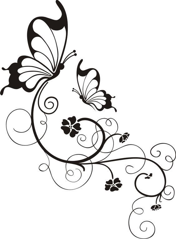 Swirly Butterfly And Flower In Black And White Border Design Free DXF File