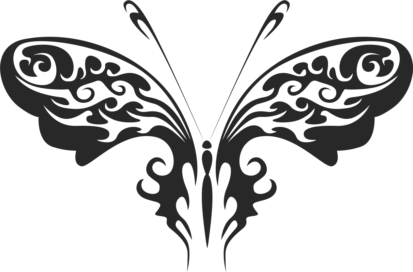 Tattoo Tribal Butterfly 444 Free DXF File