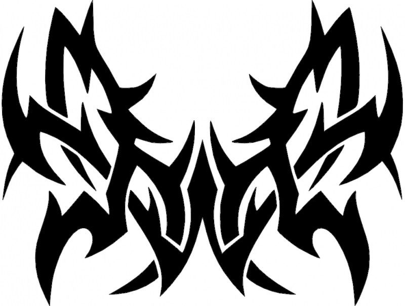 Tattoo Tribal Butterfly Design Free DXF File