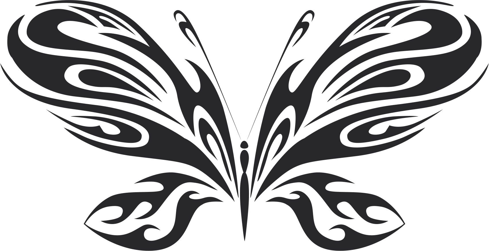 Tattoo Tribal Butterfly Metal Art 111 Free DXF File