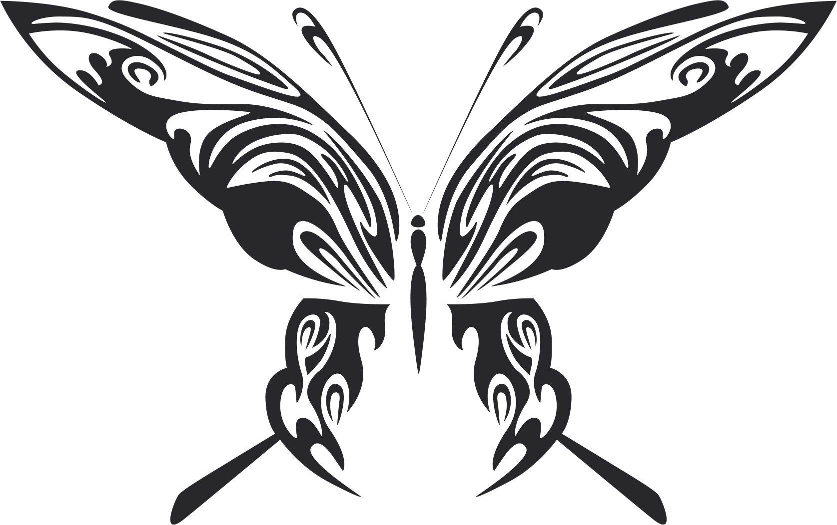Tattoo Tribal Butterfly Metal Art Design Free DXF File