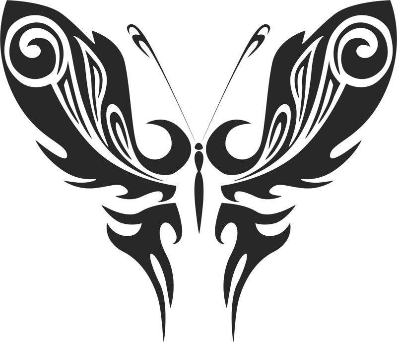 Tattoo Tribal Butterfly Silhouette Free DXF File