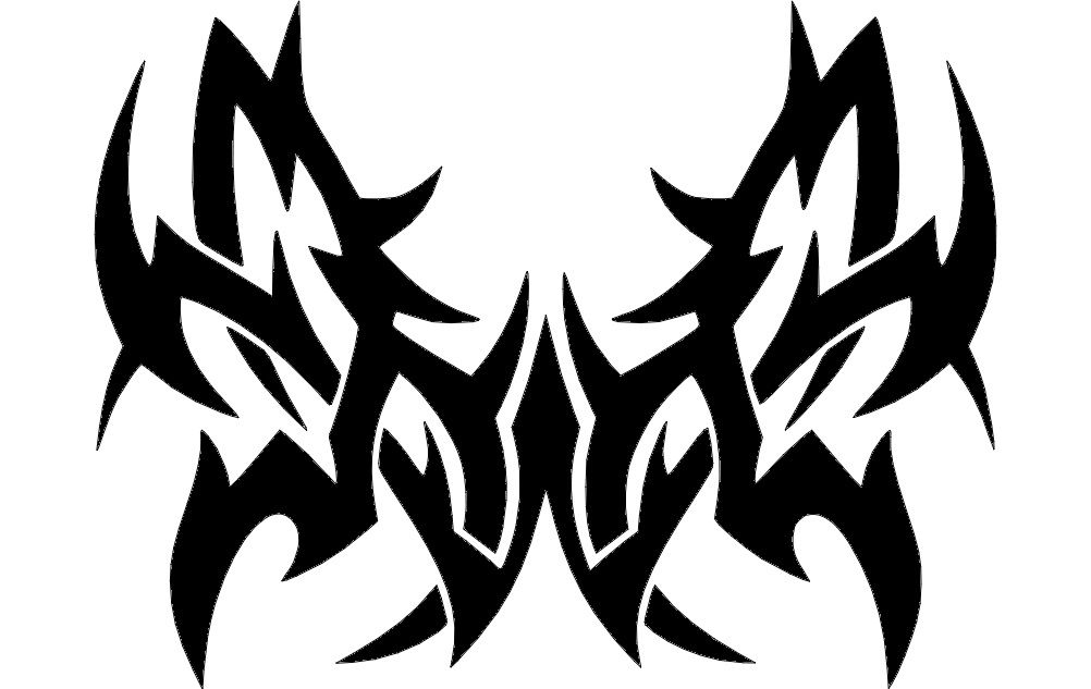 Tattoo Tribal Butterfly Vector Free DXF File