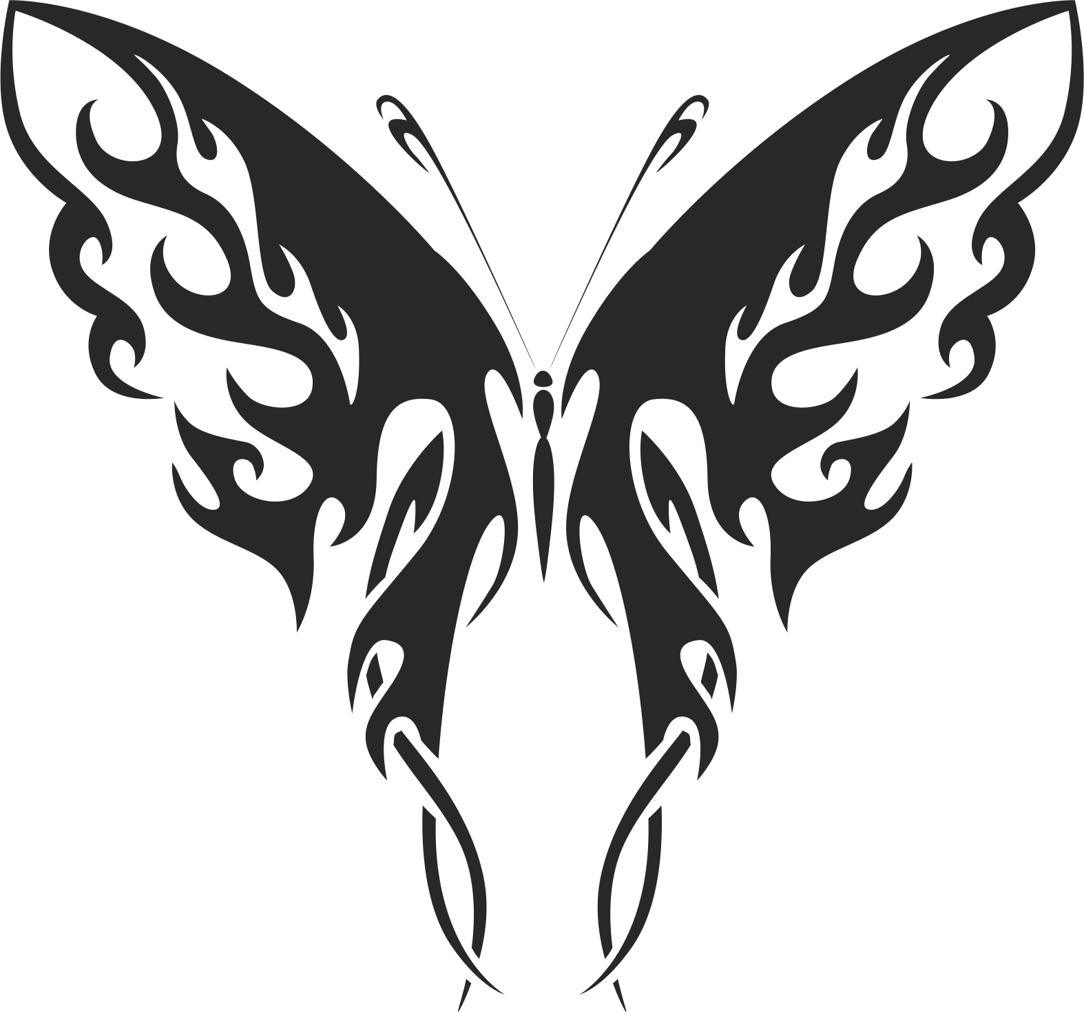 Tattoo Tribal Butterfly Wildlife Art Free DXF File