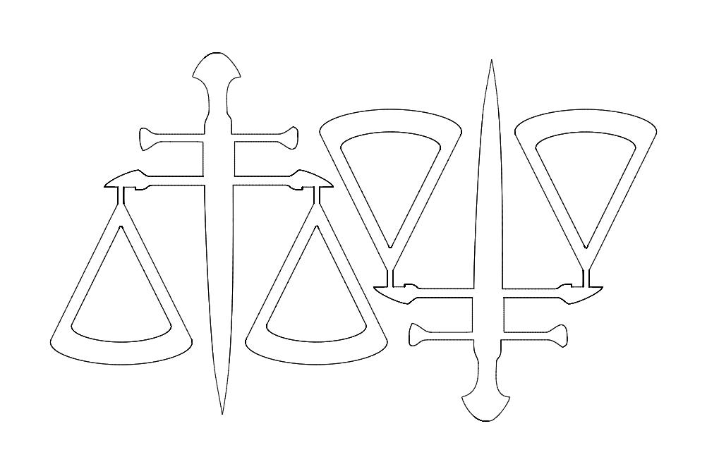 2 balança Da justica49x52 Free DXF File