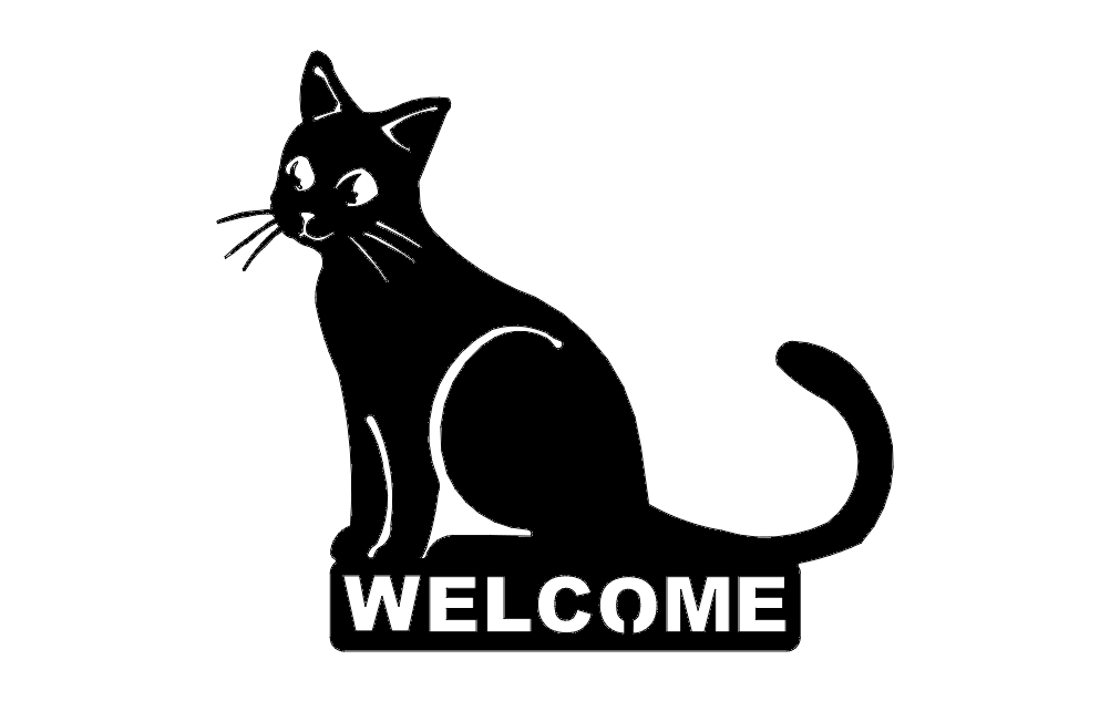 Cat Welcome Silhouette Black Free DXF File