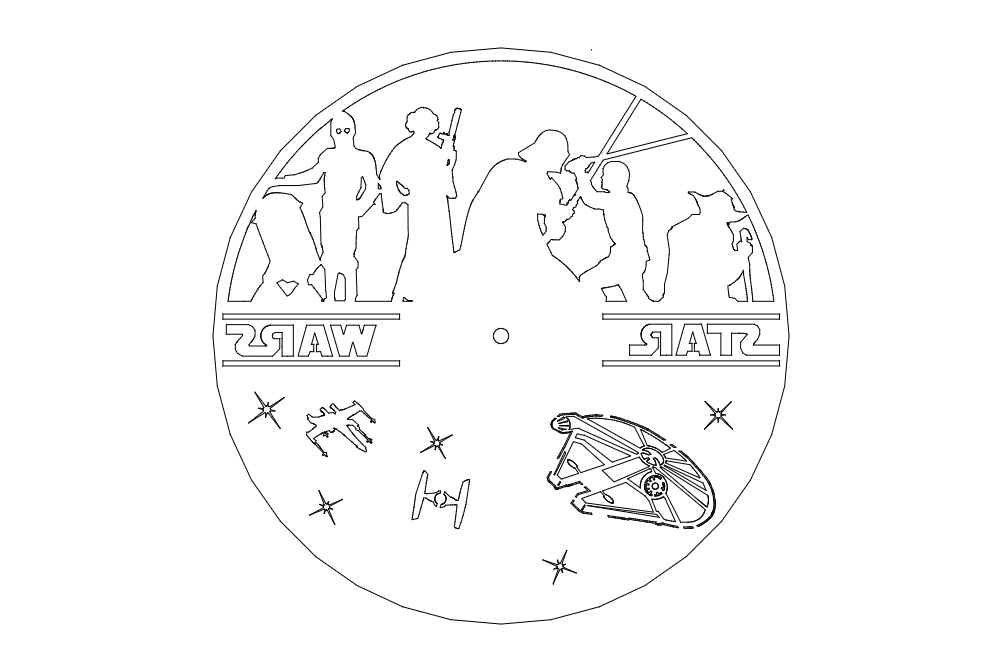 Clock On A Record Star Wars Free DXF File