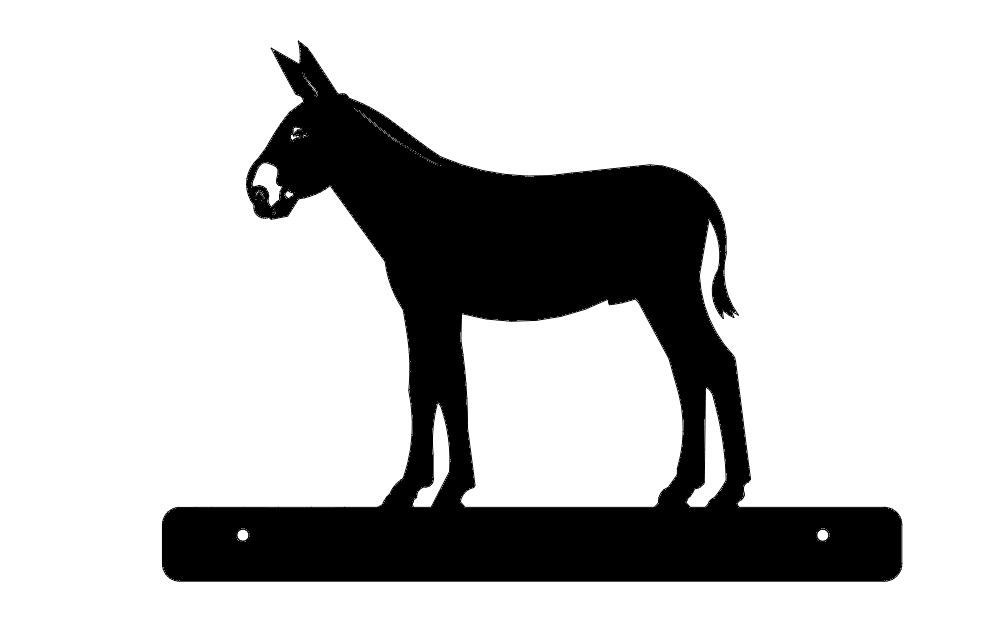 Donkey With Plate Silhouette Free DXF File