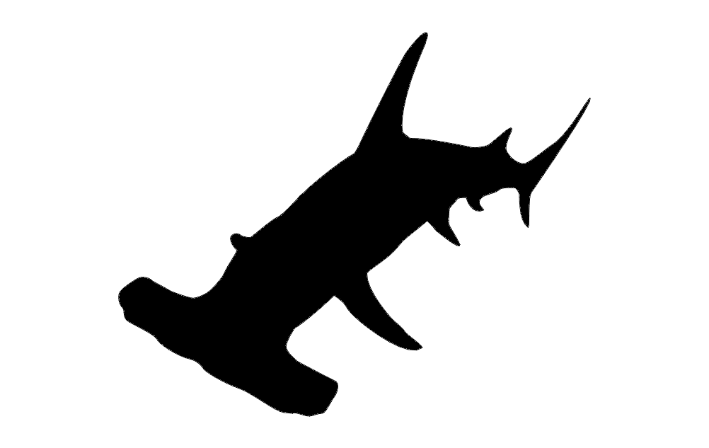 Hammer Head Shark Silhouette Free DXF File