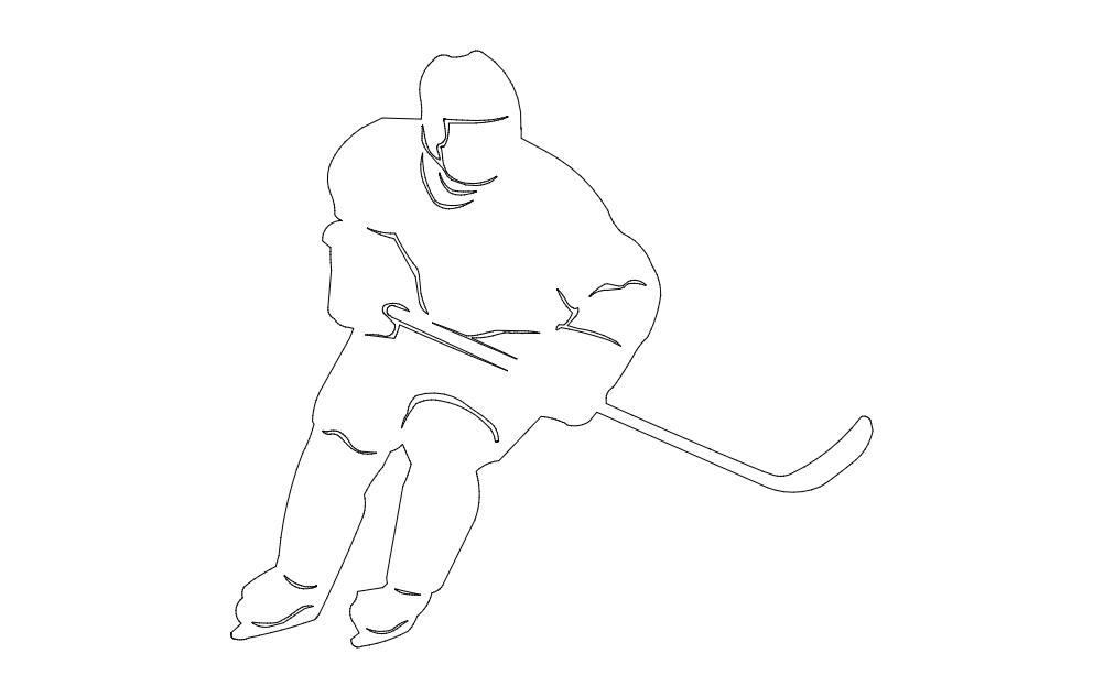 Hockey Player Image Free DXF File