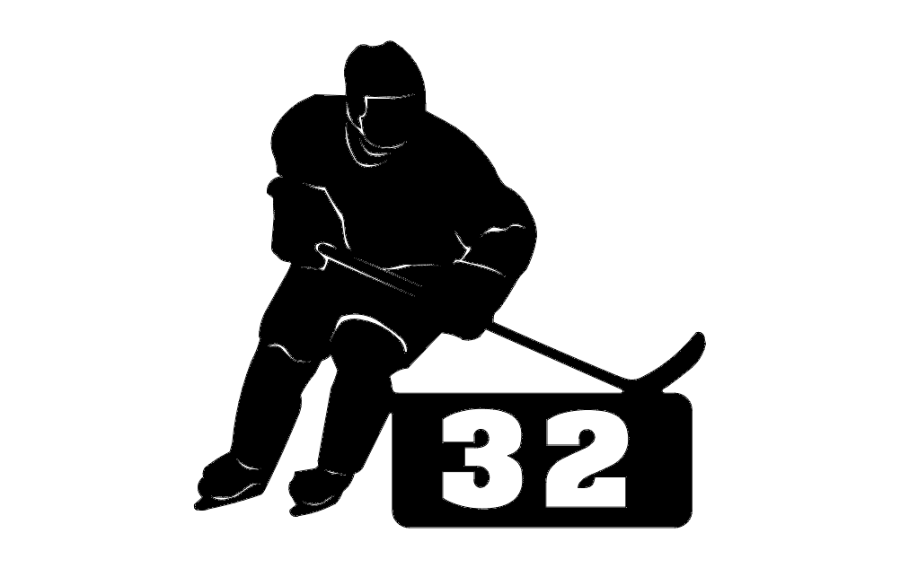 Hockey Player With Number Free DXF File