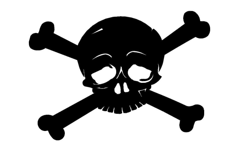 Horror Skull Cross Bones Free DXF File