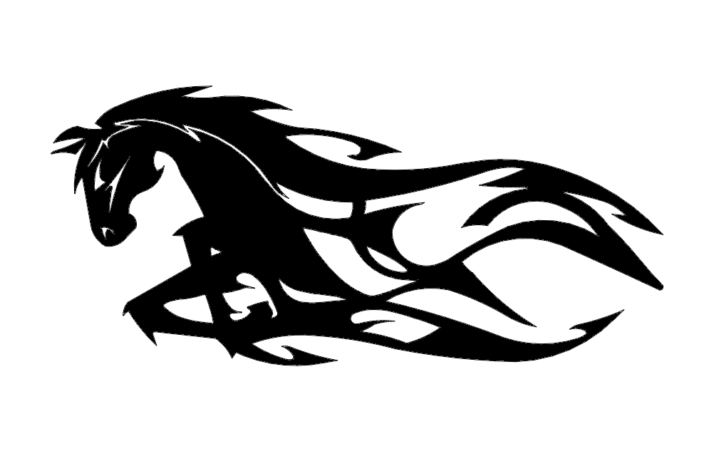 Horse Running Flames Free DXF File