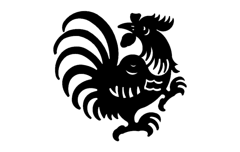 Rooster 4 Silhouette Free DXF File