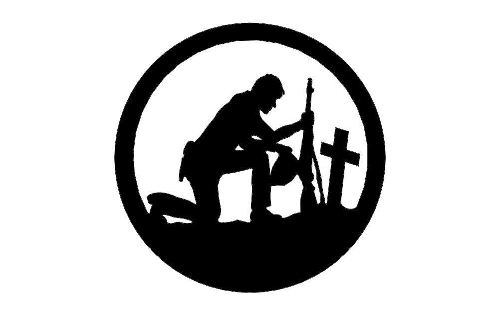 Soldier With Cross In A Circle Free DXF File