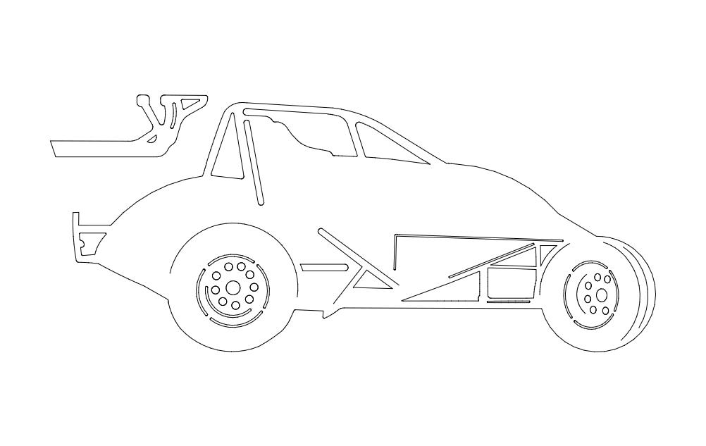 Sprint Car Image Free DXF File