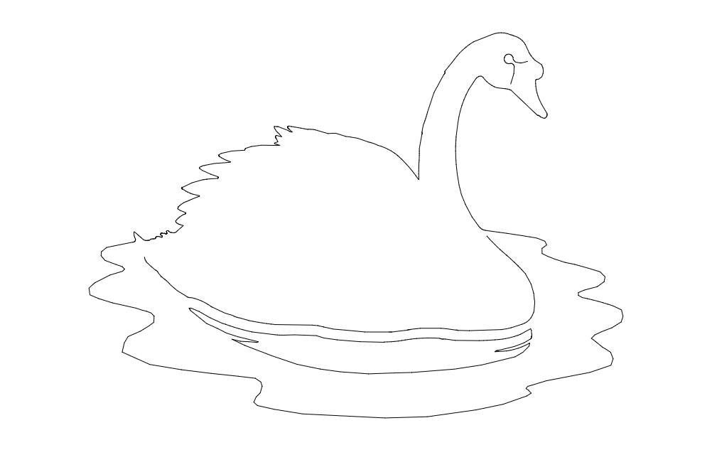 Swan On Water Image Free DXF File