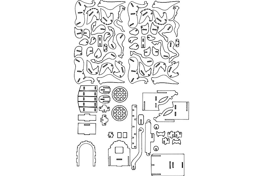 Cavalo Alado Puzzle Free DXF File