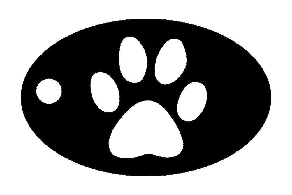 Dog Paw Key Chain Free DXF File
