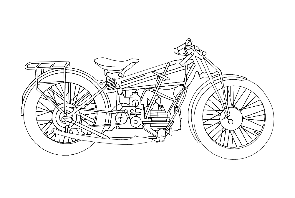 Motorcycle Old Free DXF File
