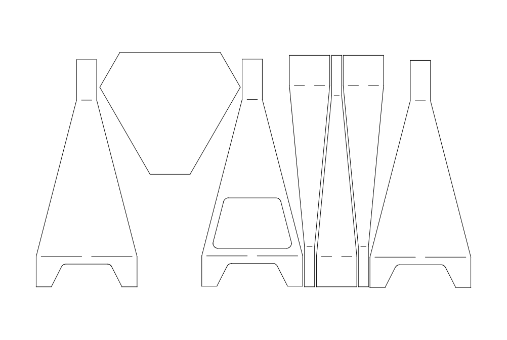 Triangle Chiminea All Parts Nested Free DXF File