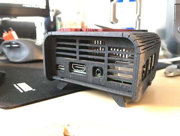 Back Retro Raspberri Pi 3 Case Free DXF File