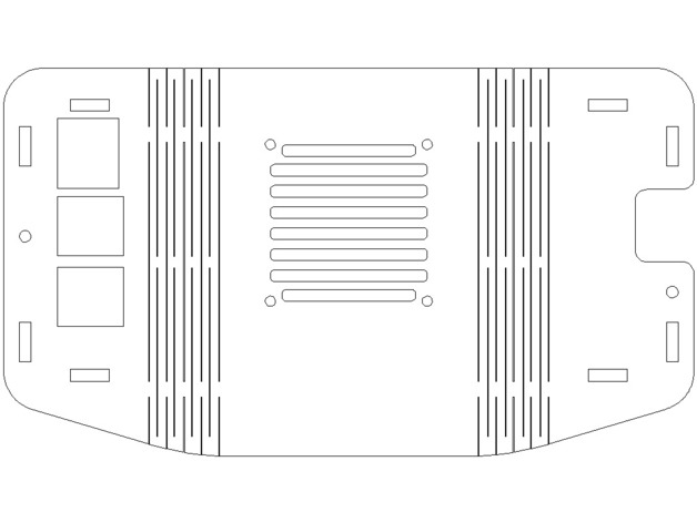 Flat Pattern Hood Retro Raspberri Pi 3 Case Free DXF File