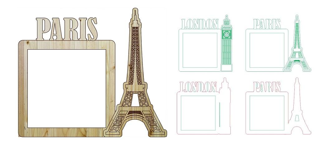 London Paris Photo Frame Laser Cut And Engraving Free CDR Vectors Art