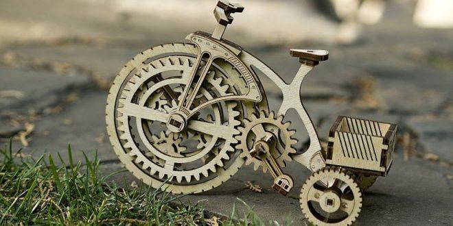 Laser Cut Wooden Mechanical Bike Free DXF File