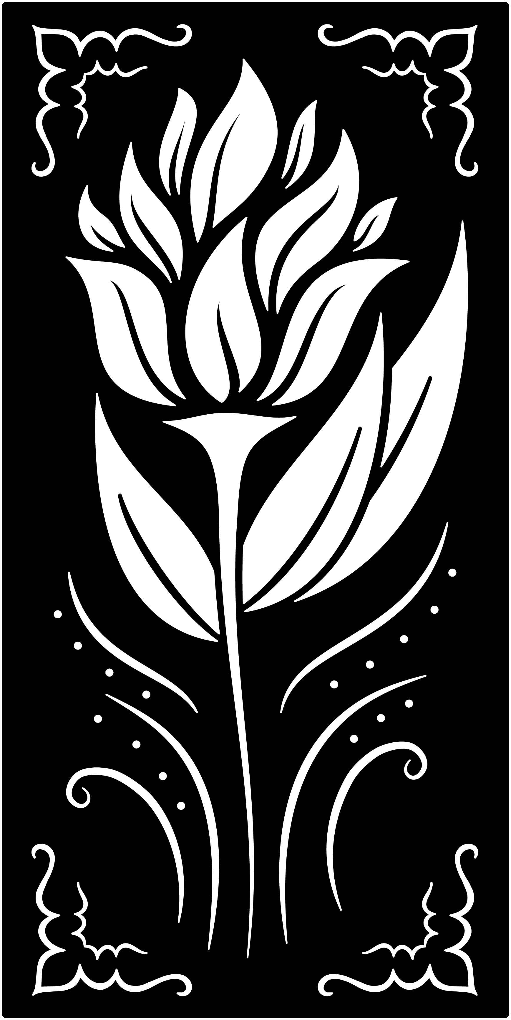 Flowers Decorative Railing Panel Free DXF File