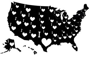 I Love States Map Free DXF File