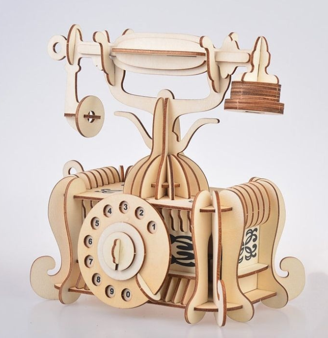 Laser Cut Old Telephone 3d Model Free DXF File