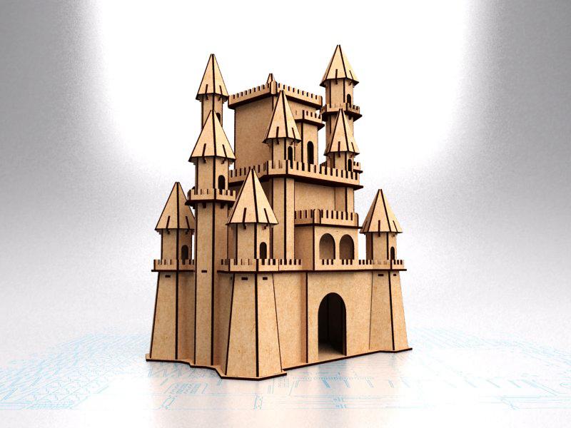 Laser Cut Wood Projects Fantasy Castle Free CDR Vectors Art