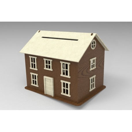 LaserCut House Piggy Bank Free DXF File