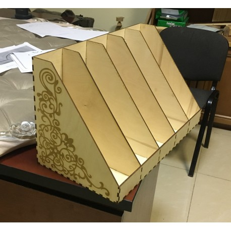 Laser Cut Plywood Office Papers Tray Free DXF File