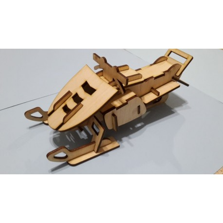 Laser Cut Plywood Snowmobile 3d Puzzle Free DXF File
