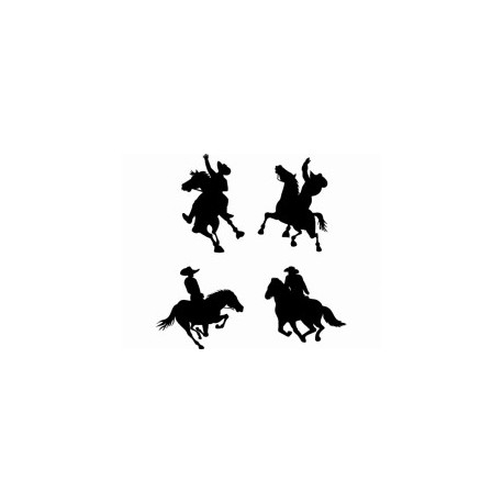 Cowboy On Horse Silhouettes Free DXF File